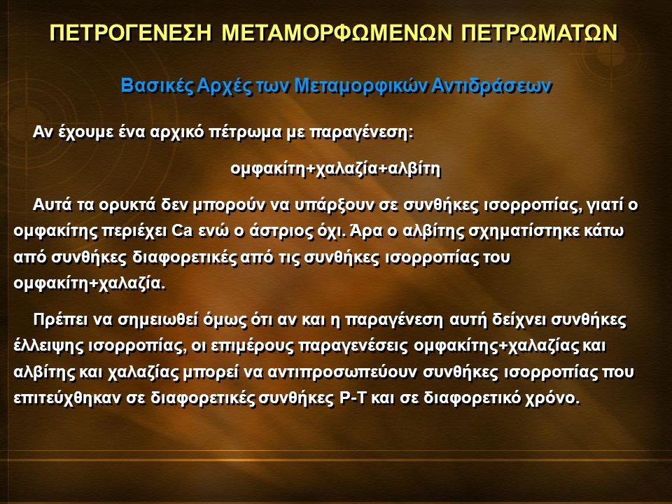 ΠΕΤΡΟΓΕΝΕΣΗ ΜΕΤΑΜΟΡΦΩΜΕΝΩΝ ΠΕΤΡΩΜΑΤΩΝ Βασικές Αρχές των Μεταμορφικών Αντιδράσεων Αν έχουμε ένα αρχικό πέτρωμα με παραγένεση: ομφακίτη+χαλαζία+αλβίτη Αυτά τα ορυκτά δεν μπορούν να υπάρξουν σε συνθήκες ισορροπίας, γιατί ο ομφακίτης περιέχει Ca ενώ ο άστριος όχι.