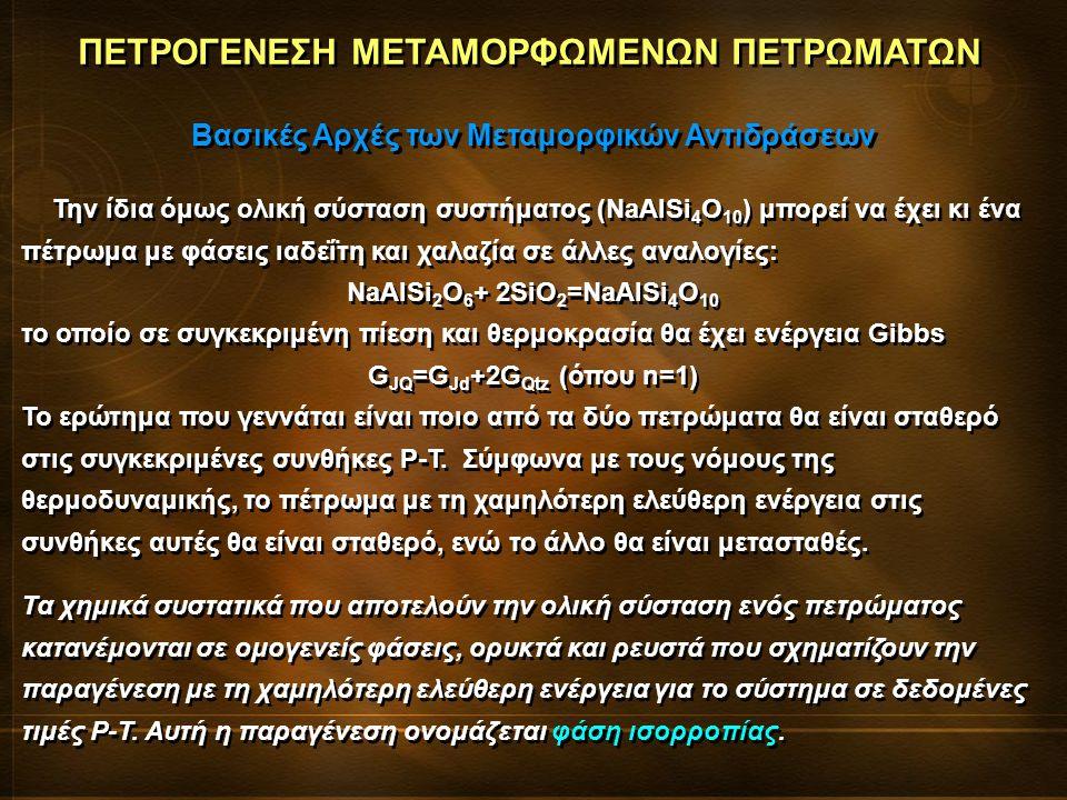 Την ίδια όμως ολική σύσταση συστήματος (NaAlSi 4 O 10 ) μπορεί να έχει κι ένα πέτρωμα με φάσεις ιαδεΐτη και χαλαζία σε άλλες αναλογίες: NaAlSi 2 O 6 + 2SiO 2 =NaAlSi 4 O 10 το οποίο σε συγκεκριμένη πίεση και θερμοκρασία θα έχει ενέργεια Gibbs G JQ =G Jd +2G Qtz (όπου n=1) Το ερώτημα που γεννάται είναι ποιο από τα δύο πετρώματα θα είναι σταθερό στις συγκεκριμένες συνθήκες P-T.