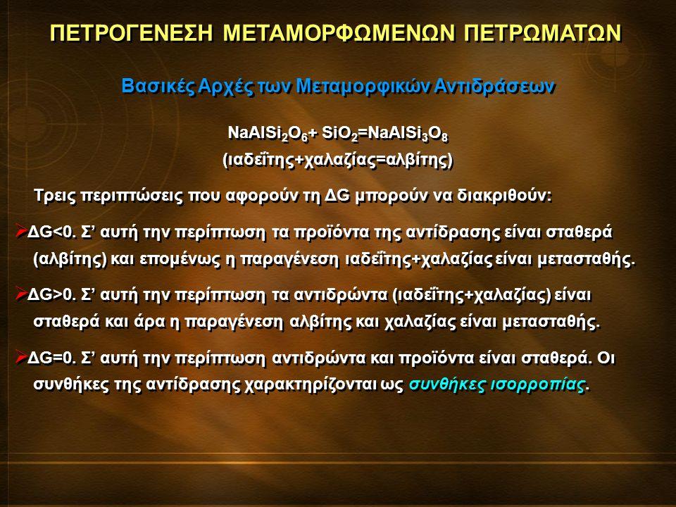ΠΕΤΡΟΓΕΝΕΣΗ ΜΕΤΑΜΟΡΦΩΜΕΝΩΝ ΠΕΤΡΩΜΑΤΩΝ Βασικές Αρχές των Μεταμορφικών Αντιδράσεων Σε συνθήκες ισορροπίας η ορυκτολογική σύσταση ενός πετρώματος υπαγορεύεται από τη χημική του σύσταση, την πίεση και τη θερμοκρασία.