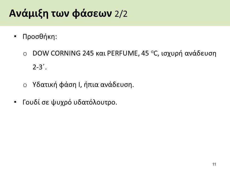 Ανάμιξη των φάσεων 2/2 Προσθήκη: o DOW CORNING 245 και PERFUME, 45 ο C, ισχυρή ανάδευση 2-3΄. o Υδατική φάση Ι, ήπια ανάδευση. Γουδί σε ψυχρό υδατόλου