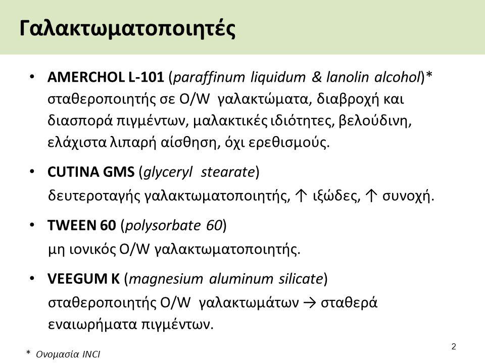 Γαλακτωματοποιητές AMERCHOL L-101 (paraffinum liquidum & lanolin alcohol)* σταθεροποιητής σε O/W γαλακτώματα, διαβροχή και διασπορά πιγμέντων, μαλακτι
