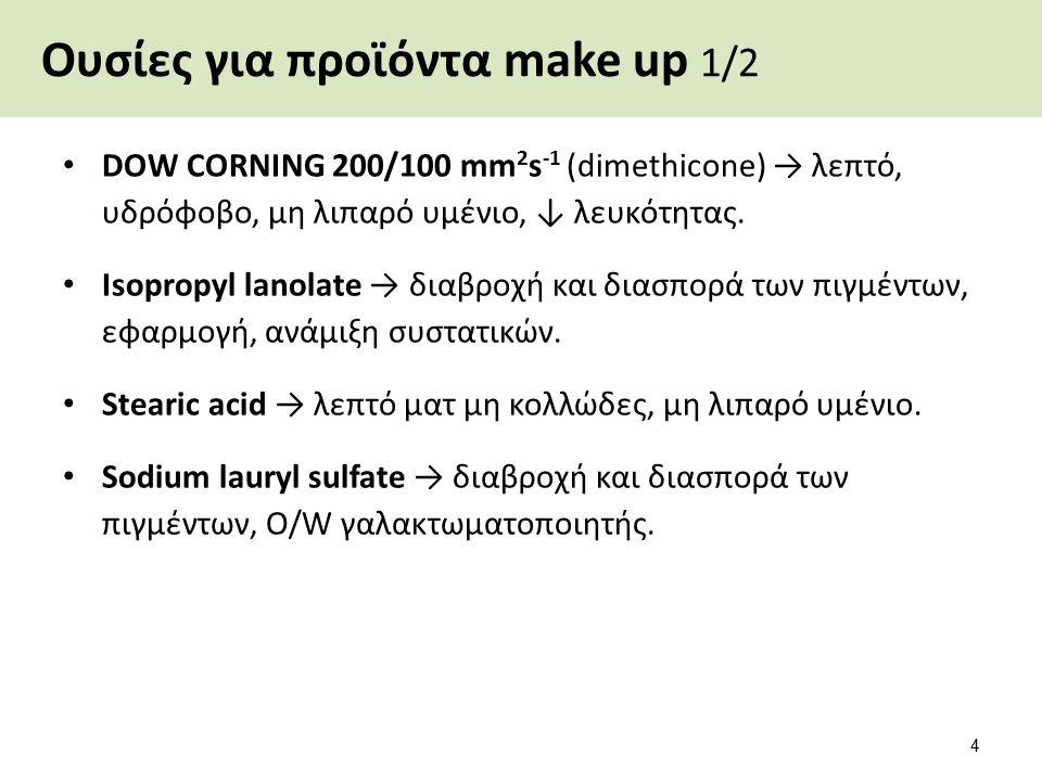 Ουσίες για προϊόντα make up 1/2 DOW CORNING 200/100 mm 2 s -1 (dimethicone) → λεπτό, υδρόφοβο, μη λιπαρό υμένιο, ↓ λευκότητας. Isopropyl lanolate → δι