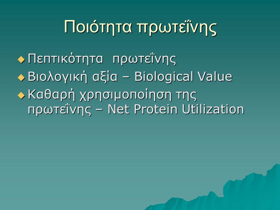 Ποιότητα πρωτεΐνης  Πεπτικότητα πρωτεΐνης  Βιολογική αξία – Biological Value  Καθαρή χρησιμοποίηση της πρωτεΐνης – Net Protein Utilization