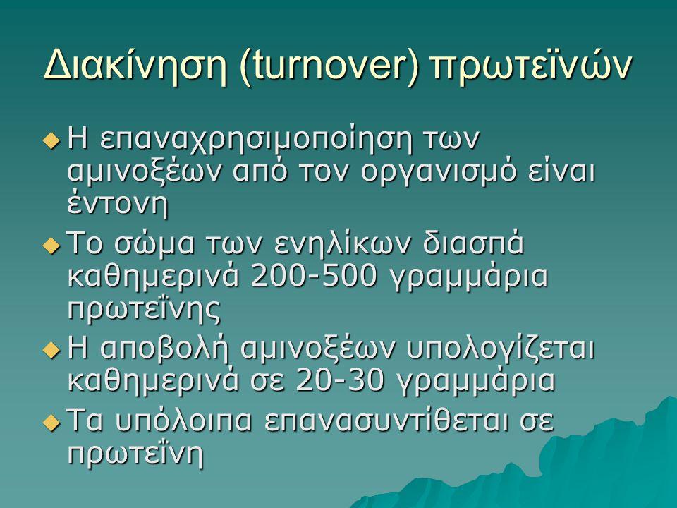 Διακίνηση (turnover) πρωτεϊνών  Η επαναχρησιμοποίηση των αμινοξέων από τον οργανισμό είναι έντονη  Το σώμα των ενηλίκων διασπά καθημερινά 200-500 γρ