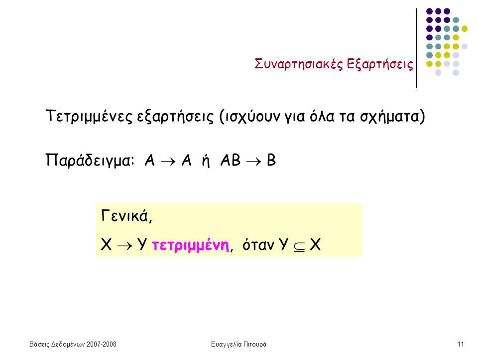 Βάσεις Δεδομένων 2007-2008Ευαγγελία Πιτουρά11 Συναρτησιακές Εξαρτήσεις Τετριμμένες εξαρτήσεις (ισχύουν για όλα τα σχήματα) Παράδειγμα: Α  Α ή ΑΒ  Β Γενικά, Χ  Υ τετριμμένη, όταν Y  X