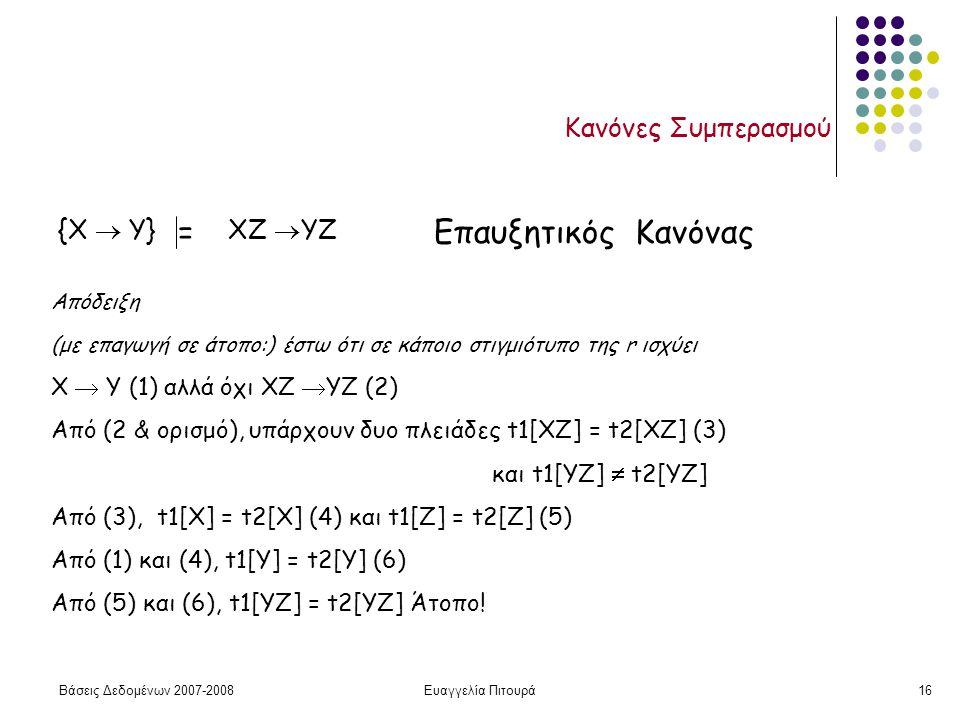 Βάσεις Δεδομένων 2007-2008Ευαγγελία Πιτουρά16 Κανόνες Συμπερασμού {X  Y} ΧΖ  YZ =Επαυξητικός Κανόνας Απόδειξη (με επαγωγή σε άτοπο:) έστω ότι σε κάποιο στιγμιότυπο της r ισχύει X  Y (1) αλλά όχι ΧΖ  YZ (2) Από (2 & ορισμό), υπάρχουν δυο πλειάδες t1[XZ] = t2[XZ] (3) και t1[YZ]  t2[YZ] Από (3), t1[X] = t2[X] (4) και t1[Z] = t2[Z] (5) Από (1) και (4), t1[Y] = t2[Υ] (6) Από (5) και (6), t1[ΥZ] = t2[ΥZ] Άτοπο!