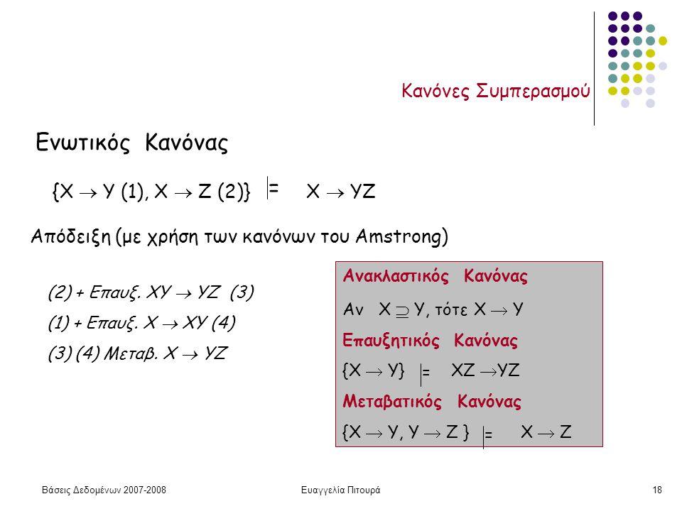 Βάσεις Δεδομένων 2007-2008Ευαγγελία Πιτουρά18 Κανόνες Συμπερασμού Ενωτικός Κανόνας Απόδειξη (με χρήση των κανόνων του Amstrong) {X  Y (1), Χ  Z (2)} Χ  YZ = (2) + Επαυξ.