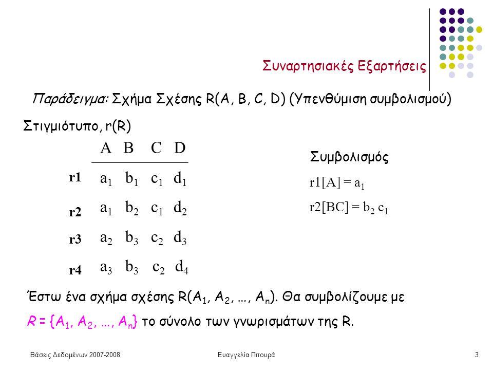 Βάσεις Δεδομένων 2007-2008Ευαγγελία Πιτουρά4 Συναρτησιακές Εξαρτήσεις Έστω X  R και Y  R, μια συναρτησιακή εξάρτηση Χ  Υ ισχύει στο σχήμα R αν για κάθε σχέση r(R), για κάθε ζεύγος πλειάδων t 1 και t 2 της r, τέτοιες ώστε t 1 [X] = t 2 [X]  t 1 [Y] = t 2 [Y] ΟΡΙΣΜΟΣ Με απλά λόγια, μια συναρτησιακή εξάρτηση X  Y μας λέει ότι αν δυο πλειάδες μιας σχέσης της R συμφωνούν (έχουν την ίδια τιμή) σε κάποια γνωρίσματα Χ  R τότε συμφωνούν (έχουν την ίδια τιμή) και σε κάποια γνωρίσματα Y  R.