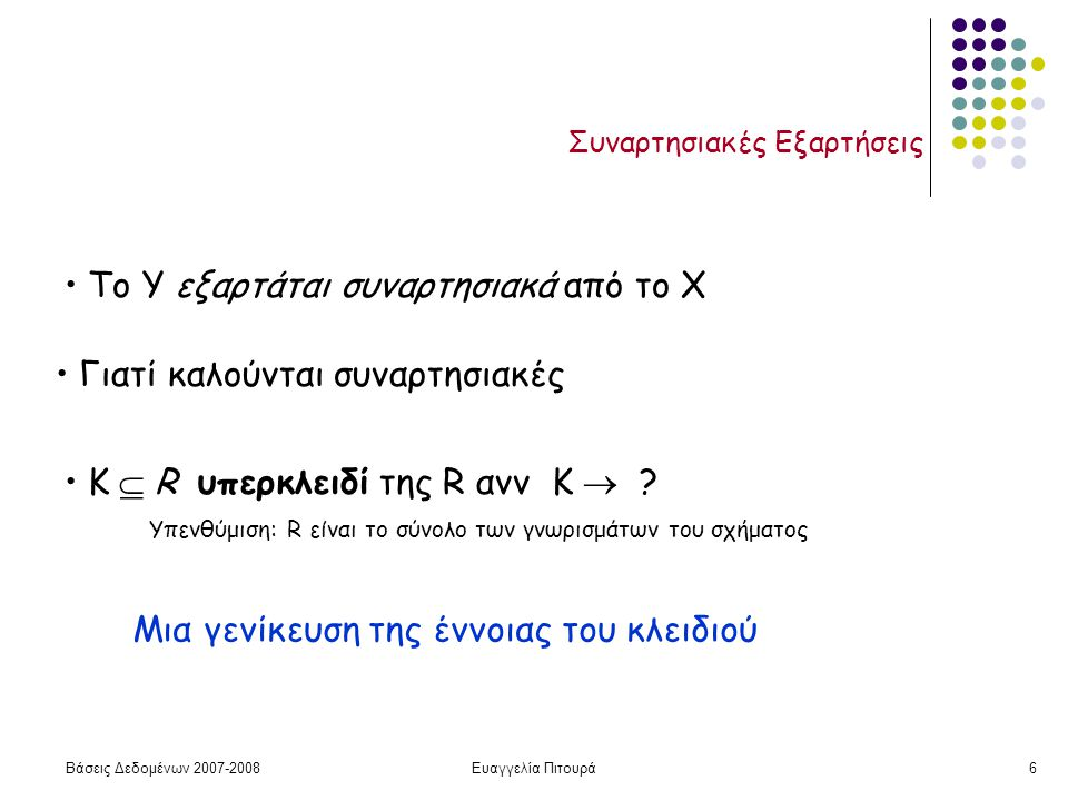 Βάσεις Δεδομένων 2007-2008Ευαγγελία Πιτουρά6 Συναρτησιακές Εξαρτήσεις To Y εξαρτάται συναρτησιακά από το X Γιατί καλούνται συναρτησιακές Κ  R υπερκλειδί της R ανν K  .