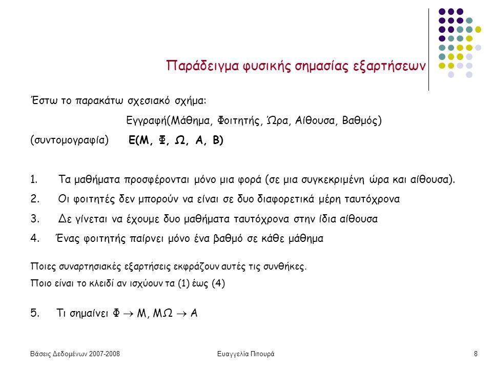 Βάσεις Δεδομένων 2007-2008Ευαγγελία Πιτουρά8 Παράδειγμα φυσικής σημασίας εξαρτήσεων Έστω το παρακάτω σχεσιακό σχήμα: Εγγραφή(Μάθημα, Φοιτητής, Ώρα, Αίθουσα, Βαθμός) (συντομογραφία) Ε(Μ, Φ, Ω, Α, Β) 1.