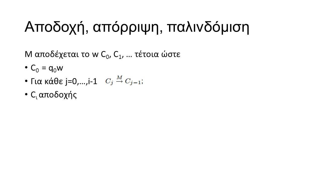 Αποδοχή, απόρριψη, παλινδόμιση M αποδέχεται το w C 0, C 1, … τέτοια ώστε C 0 = q 0 w Για κάθε j=0,…,i-1 C ι αποδοχής