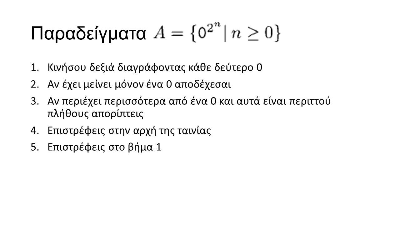 Παραδείγματα 1.Κινήσου δεξιά διαγράφοντας κάθε δεύτερο 0 2.Αν έχει μείνει μόνον ένα 0 αποδέχεσαι 3.Αν περιέχει περισσότερα από ένα 0 και αυτά είναι περιττού πλήθους απορίπτεις 4.Επιστρέφεις στην αρχή της ταινίας 5.Επιστρέφεις στο βήμα 1