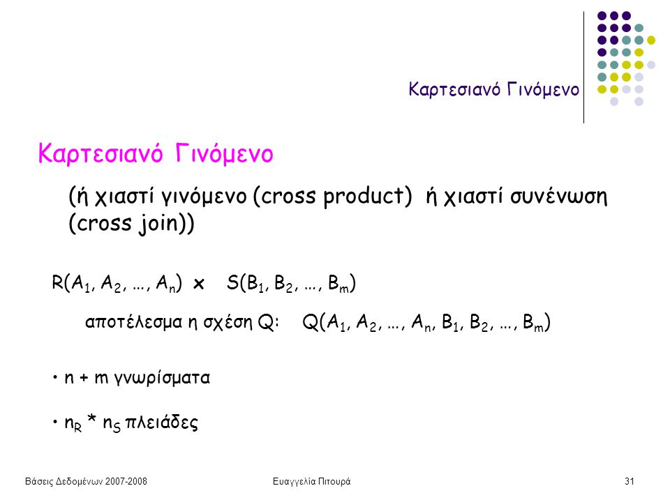 Βάσεις Δεδομένων 2007-2008Ευαγγελία Πιτουρά31 Καρτεσιανό Γινόμενο R(A 1, A 2, …, A n ) x S(B 1, B 2, …, B m ) (ή χιαστί γινόμενο (cross product) ή χιαστί συνένωση (cross join)) αποτέλεσμα η σχέση Q: Q(A 1, A 2, …, A n, B 1, B 2, …, B m ) n + m γνωρίσματα n R * n S πλειάδες