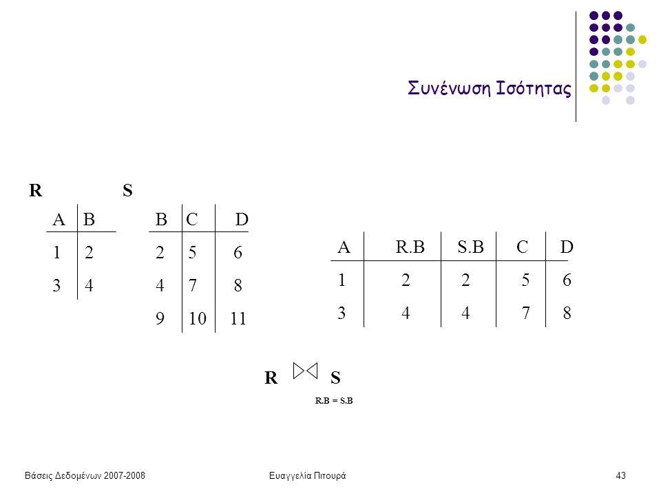 Βάσεις Δεδομένων 2007-2008Ευαγγελία Πιτουρά43 Συνένωση Ισότητας Α Β 1 2 3 4 B C D 2 5 6 4 7 8 9 10 11 RS A R.B S.B C D 1 2 2 5 6 3 4 4 7 8 RSRS R.B =
