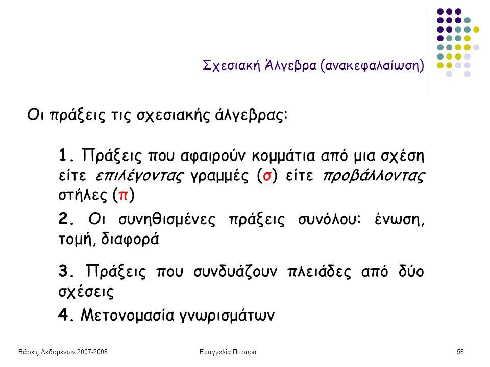 Βάσεις Δεδομένων 2007-2008Ευαγγελία Πιτουρά58 Σχεσιακή Άλγεβρα (ανακεφαλαίωση) Οι πράξεις τις σχεσιακής άλγεβρας: 1.