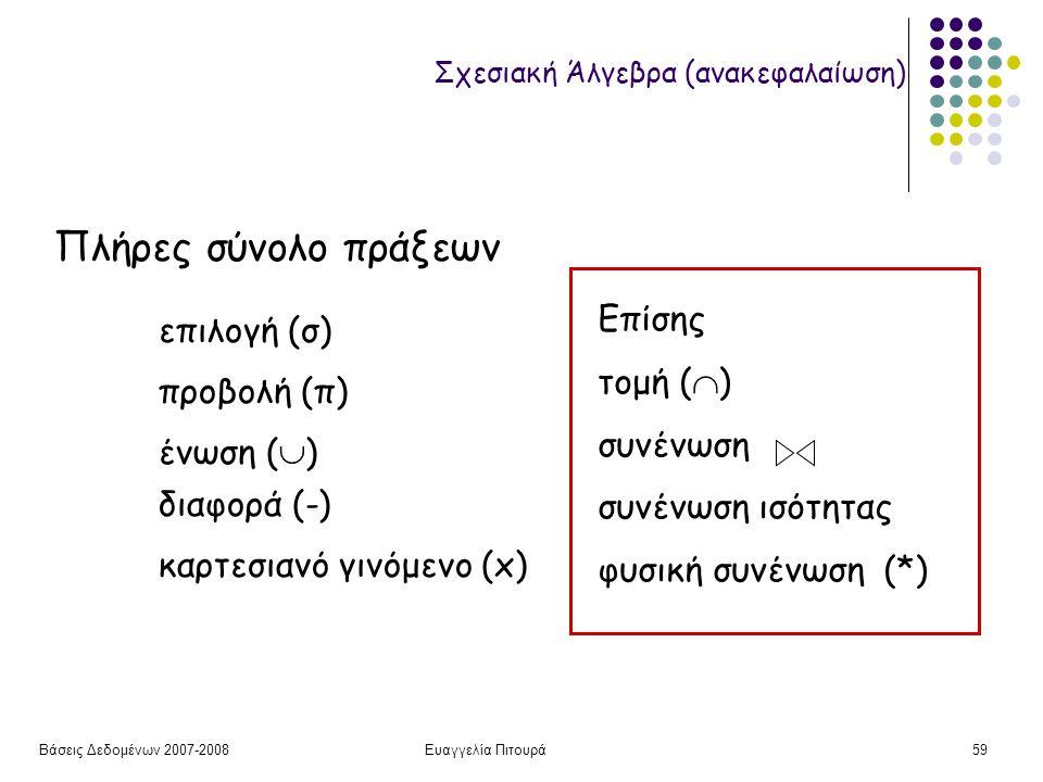 Βάσεις Δεδομένων 2007-2008Ευαγγελία Πιτουρά59 Σχεσιακή Άλγεβρα (ανακεφαλαίωση) Πλήρες σύνολο πράξεων επιλογή (σ) προβολή (π) διαφορά (-) ένωση (  ) καρτεσιανό γινόμενο (x) Επίσης τομή (  ) συνένωση συνένωση ισότητας φυσική συνένωση (*)