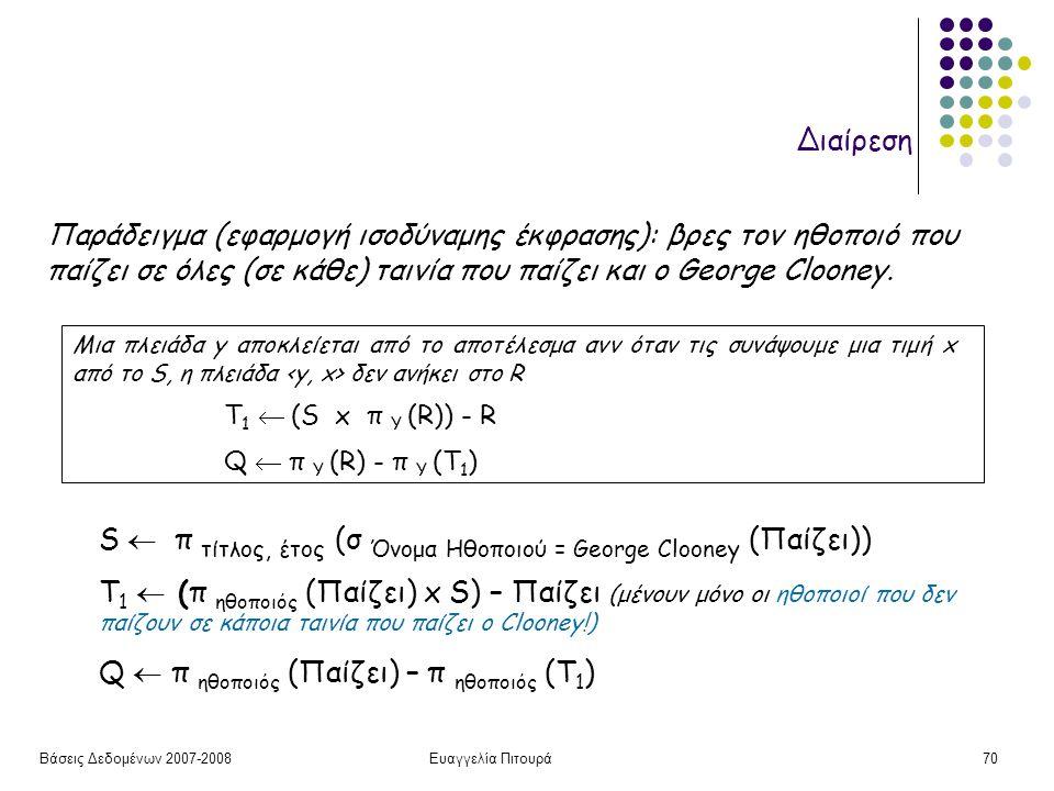 Βάσεις Δεδομένων 2007-2008Ευαγγελία Πιτουρά70 Διαίρεση Μια πλειάδα y αποκλείεται από το αποτέλεσμα ανν όταν τις συνάψουμε μια τιμή x από το S, η πλειάδα δεν ανήκει στο R Τ 1  (S x π Y (R)) - R Q  π Y (R) - π Y (T 1 ) Παράδειγμα (εφαρμογή ισοδύναμης έκφρασης): βρες τον ηθοποιό που παίζει σε όλες (σε κάθε) ταινία που παίζει και o George Clooney.