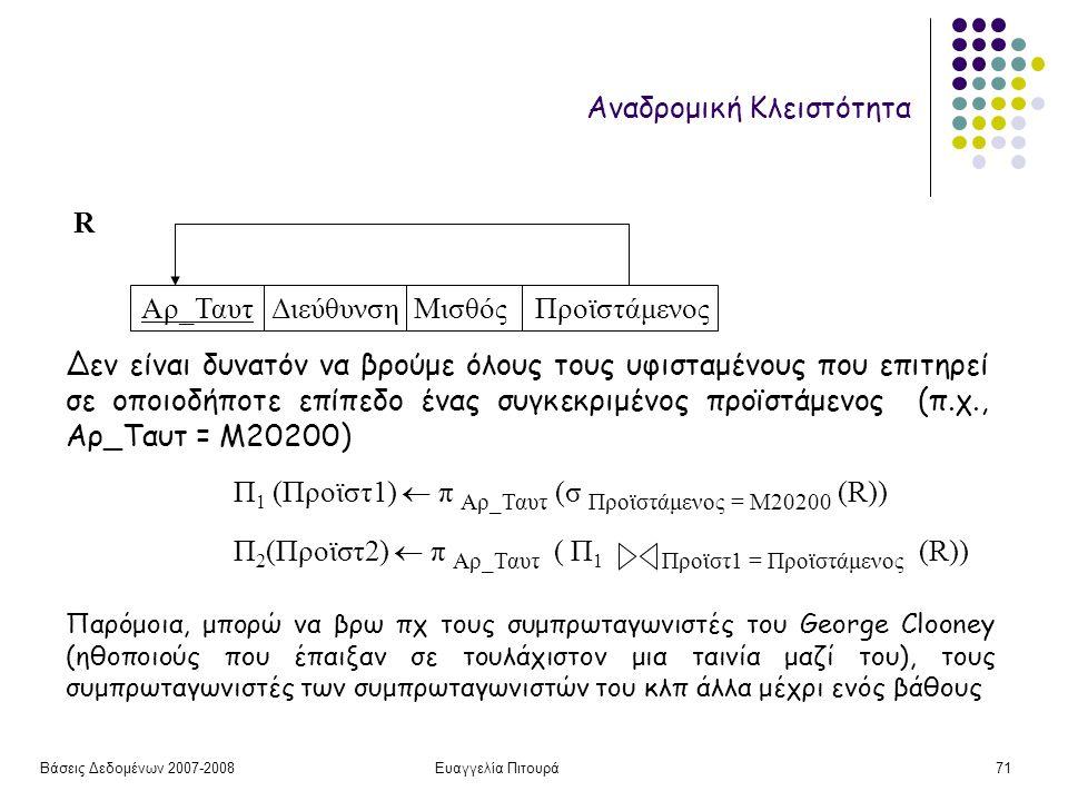 Βάσεις Δεδομένων 2007-2008Ευαγγελία Πιτουρά71 Αναδρομική Κλειστότητα Αρ_Ταυτ Διεύθυνση Μισθός Προϊστάμενος Δεν είναι δυνατόν να βρούμε όλους τους υφισταμένους που επιτηρεί σε οποιοδήποτε επίπεδο ένας συγκεκριμένος προϊστάμενος (π.χ., Αρ_Ταυτ = Μ20200) R Π 1 (Προϊστ1)  π Αρ_Ταυτ (σ Προϊστάμενος = Μ20200 (R)) Π 2 (Προϊστ2)  π Αρ_Ταυτ ( Π 1 Προϊστ1 = Προϊστάμενος (R)) Παρόμοια, μπορώ να βρω πχ τους συμπρωταγωνιστές του George Clooney (ηθοποιούς που έπαιξαν σε τουλάχιστον μια ταινία μαζί του), τους συμπρωταγωνιστές των συμπρωταγωνιστών του κλπ άλλα μέχρι ενός βάθους