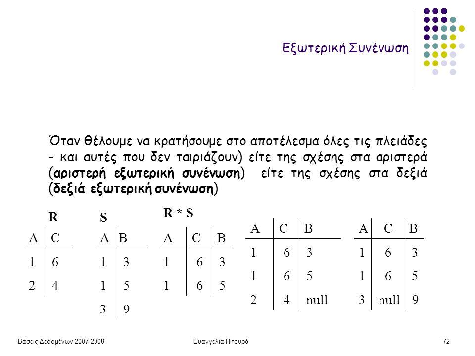 Βάσεις Δεδομένων 2007-2008Ευαγγελία Πιτουρά72 Εξωτερική Συνένωση Όταν θέλουμε να κρατήσουμε στο αποτέλεσμα όλες τις πλειάδες - και αυτές που δεν ταιριάζουν) είτε της σχέσης στα αριστερά (αριστερή εξωτερική συνένωση) είτε της σχέσης στα δεξιά (δεξιά εξωτερική συνένωση) R S Α C 1 6 2 4 Α B 1 3 1 5 3 9 Α C B 1 6 3 1 6 5 Α C B 1 6 3 1 6 5 2 4 null Α C B 1 6 3 1 6 5 3 null 9 R * S