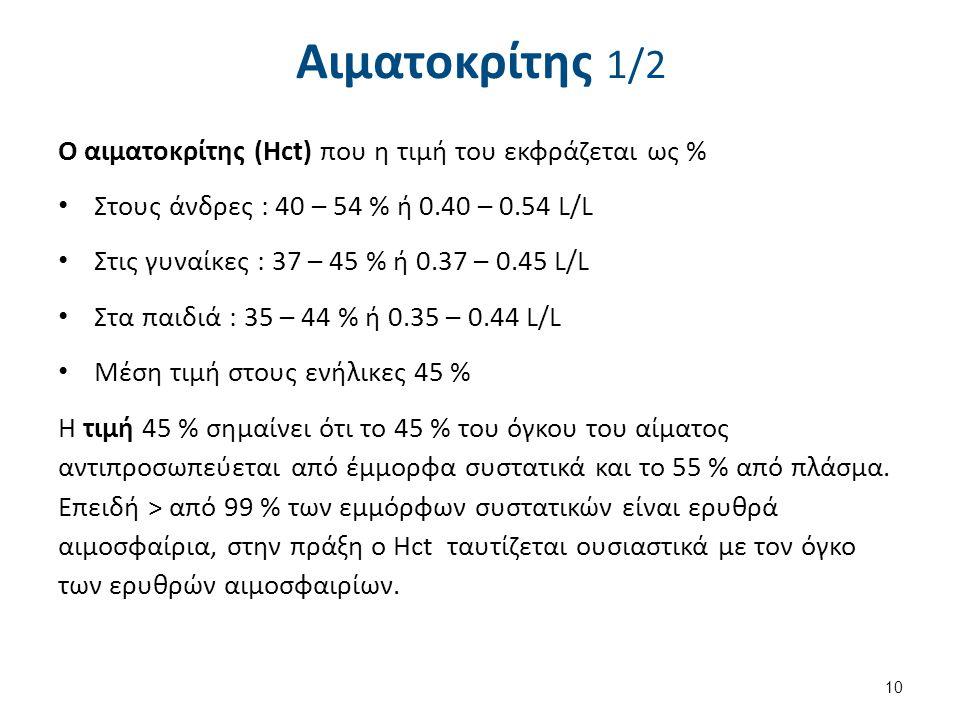 Αιματοκρίτης 1/2 Ο αιματοκρίτης (Hct) που η τιμή του εκφράζεται ως % Στους άνδρες : 40 – 54 % ή 0.40 – 0.54 L/L Στις γυναίκες : 37 – 45 % ή 0.37 – 0.4