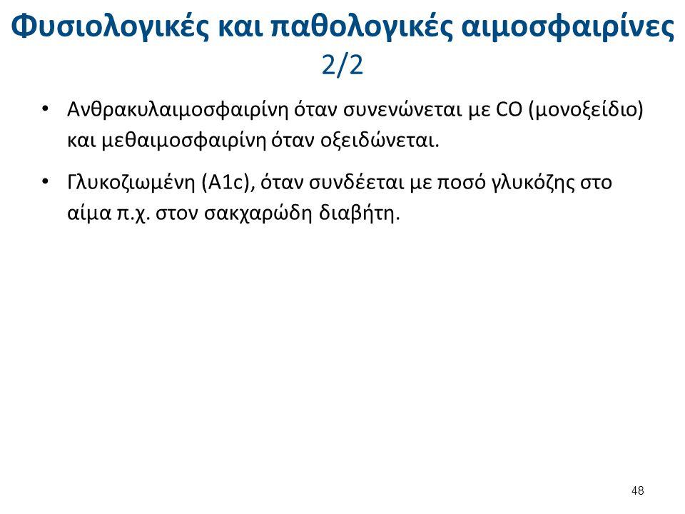 Φυσιολογικές και παθολογικές αιμοσφαιρίνες 2/2 Ανθρακυλαιμοσφαιρίνη όταν συνενώνεται με CO (μονοξείδιο) και μεθαιμοσφαιρίνη όταν οξειδώνεται. Γλυκοζιω