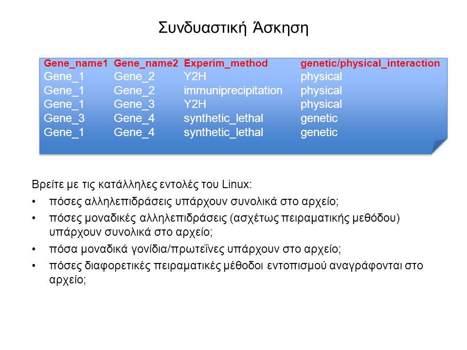 Συνδυαστική Άσκηση Βρείτε με τις κατάλληλες εντολές του Linux: πόσες αλληλεπιδράσεις υπάρχουν συνολικά στο αρχείο; πόσες μοναδικές αλληλεπιδράσεις (ασχέτως πειραματικής μεθόδου) υπάρχουν συνολικά στο αρχείο; πόσα μοναδικά γονίδια/πρωτεΐνες υπάρχουν στο αρχείο; πόσες διαφορετικές πειραματικές μέθοδοι εντοπισμού αναγράφονται στο αρχείο; Gene_name1Gene_name2Experim_methodgenetic/physical_interaction Gene_1Gene_2Y2Hphysical Gene_1Gene_2immuniprecipitationphysical Gene_1Gene_3Y2Hphysical Gene_3Gene_4synthetic_lethalgenetic Gene_1Gene_4synthetic_lethalgenetic Gene_name1Gene_name2Experim_methodgenetic/physical_interaction Gene_1Gene_2Y2Hphysical Gene_1Gene_2immuniprecipitationphysical Gene_1Gene_3Y2Hphysical Gene_3Gene_4synthetic_lethalgenetic Gene_1Gene_4synthetic_lethalgenetic