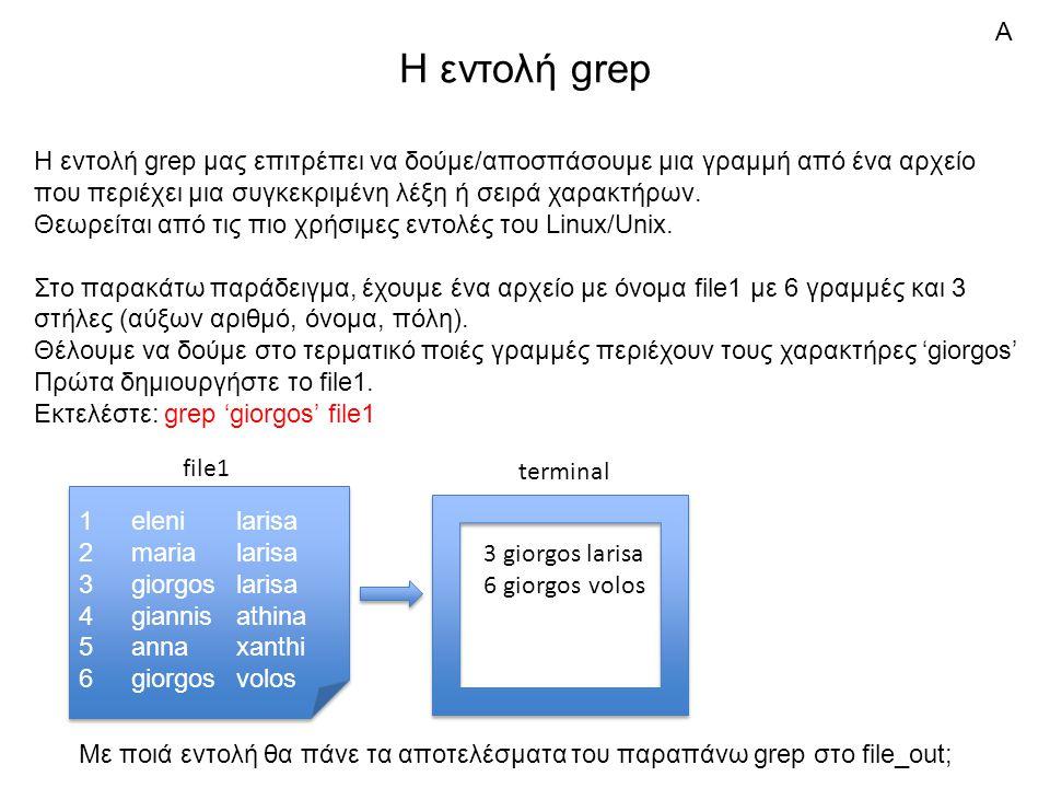 Η εντολή grep Η εντολή grep μας επιτρέπει να δούμε/αποσπάσουμε μια γραμμή από ένα αρχείο που περιέχει μια συγκεκριμένη λέξη ή σειρά χαρακτήρων.