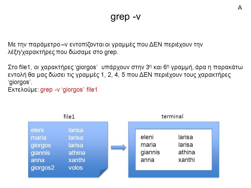 grep -v Με την παράμετρο –v εντοπίζονται οι γραμμές που ΔΕΝ περιέχουν την λέξη/χαρακτήρες που δώσαμε στο grep.
