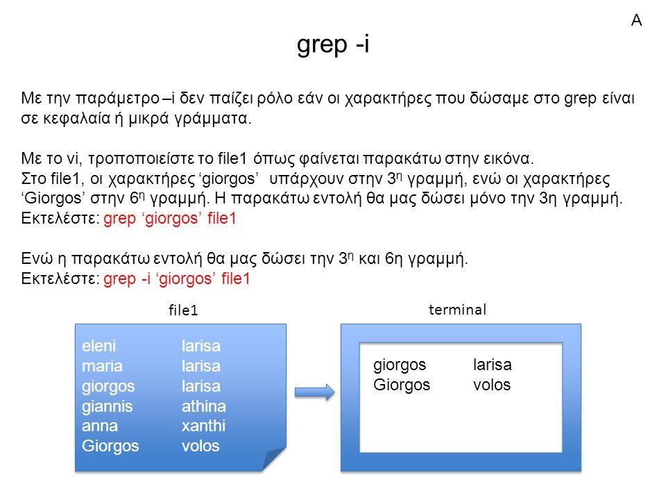 grep -i Με την παράμετρο –i δεν παίζει ρόλο εάν οι χαρακτήρες που δώσαμε στο grep είναι σε κεφαλαία ή μικρά γράμματα.