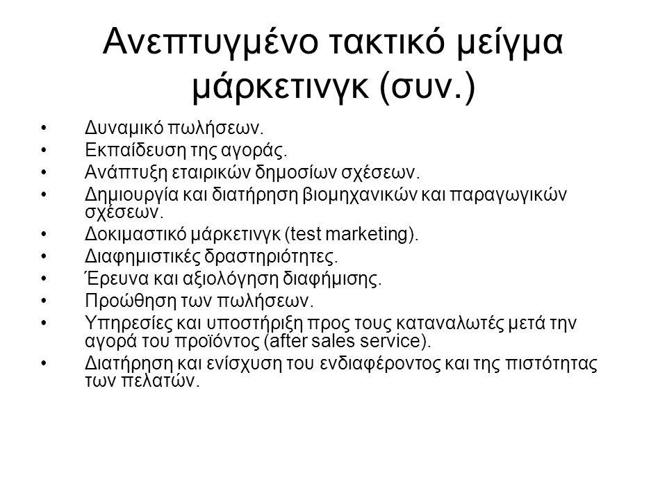 Ανεπτυγμένο τακτικό μείγμα μάρκετινγκ (συν.) Δυναμικό πωλήσεων. Εκπαίδευση της αγοράς. Ανάπτυξη εταιρικών δημοσίων σχέσεων. Δημιουργία και διατήρηση β