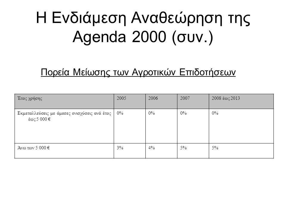 Η Ενδιάμεση Αναθεώρηση της Agenda 2000 (συν.) Πορεία Μείωσης των Αγροτικών Επιδοτήσεων Έτος χρήσης2005200620072008 έως 2013 Εκμεταλλεύσεις με άμεσες ε