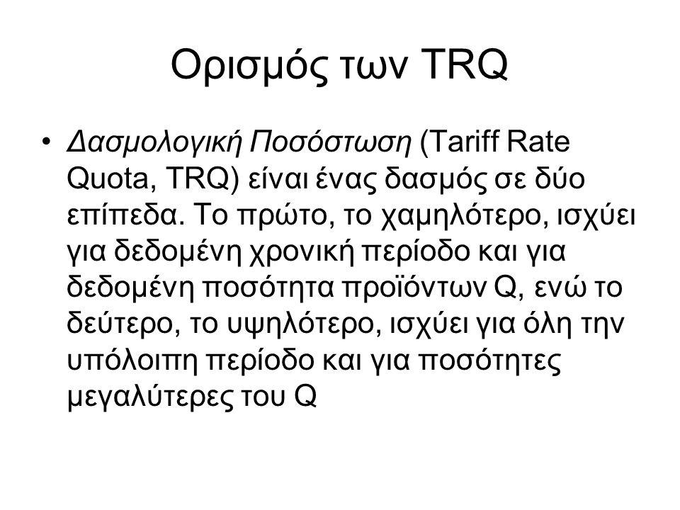 Ορισμός των TRQ Δασμολογική Ποσόστωση (Tariff Rate Quota, TRQ) είναι ένας δασμός σε δύο επίπεδα. Το πρώτο, το χαμηλότερο, ισχύει για δεδομένη χρονική