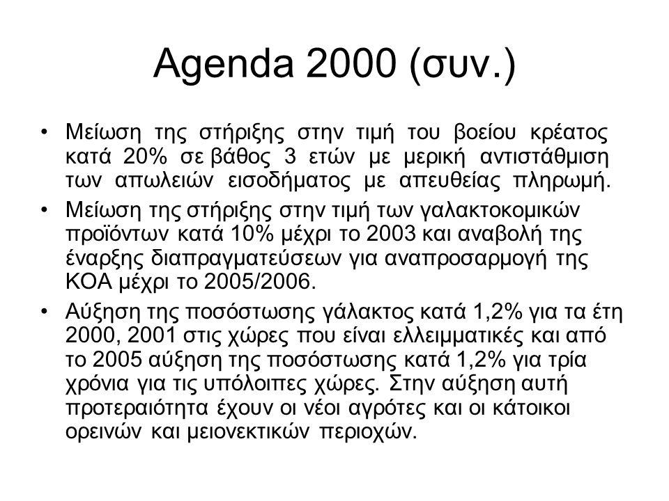 Η Ενδιάμεση Αναθεώρηση της Agenda 2000 (συν.) Βελτιωμένη στήριξη επενδύσεων για νέους αγρότες: Θα αυξηθεί η ένταση ενίσχυσης της ΕΕ για επενδύσεις από νέους αγρότες.