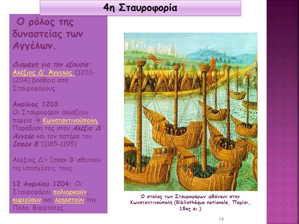 Ο ρόλος της δυναστείας των Αγγέλων. Διαμάχη για την εξουσία: Αλέξιος Δ' Άγγελος Αλέξιος Δ' Άγγελος (1203- 1204) βοήθεια από Σταυροφόρους Απρίλιος 1203