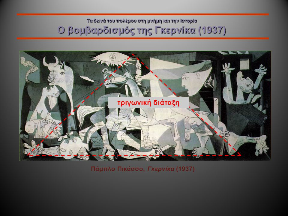 Τα δεινά του πολέμου στη μνήμη και την Ιστορία Ο βομβαρδισμός της Γκερνίκα (1937) Πάμπλο Πικάσσο, Γκερνίκα (1937) ταύρος / απάθεια άλογο / πάθος