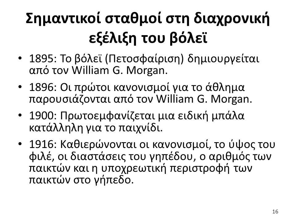 Σημαντικοί σταθμοί στη διαχρονική εξέλιξη του βόλεϊ 1895: Το βόλεϊ (Πετοσφαίριση) δημιουργείται από τον William G. Morgan. 1896: Οι πρώτοι κανονισμοί