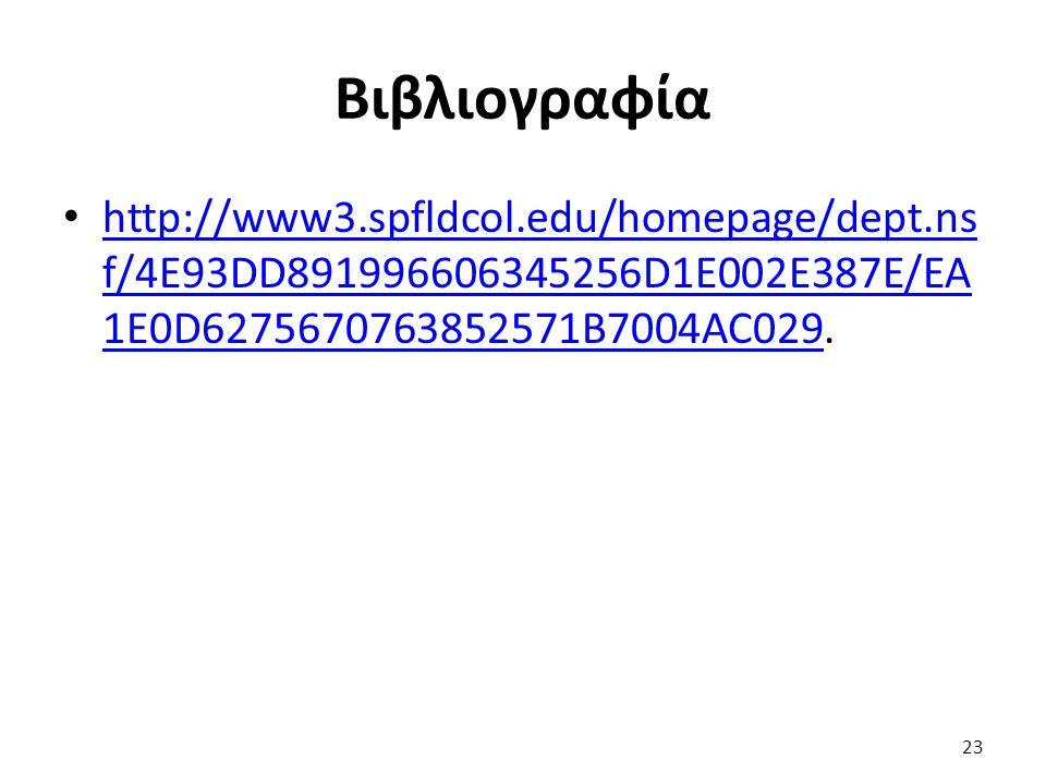 Βιβλιογραφία http://www3.spfldcol.edu/homepage/dept.ns f/4E93DD891996606345256D1E002E387E/EA 1E0D6275670763852571B7004AC029. http://www3.spfldcol.edu/