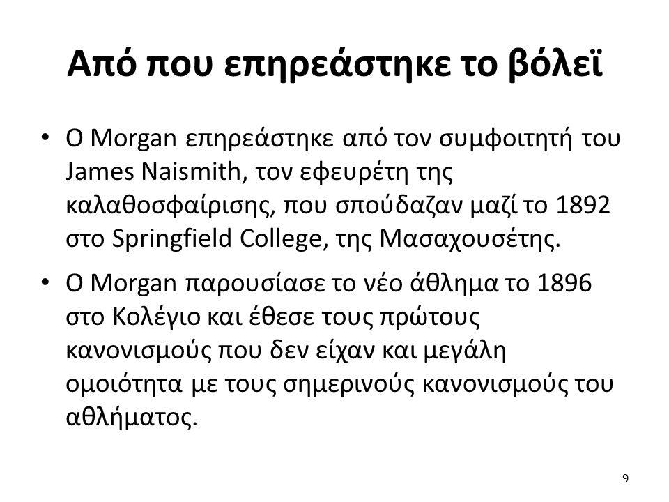 Από που επηρεάστηκε το βόλεϊ Ο Μorgan επηρεάστηκε από τον συμφοιτητή του James Naismith, τον εφευρέτη της καλαθοσφαίρισης, που σπούδαζαν μαζί το 1892 στο Springfield College, της Μασαχουσέτης.