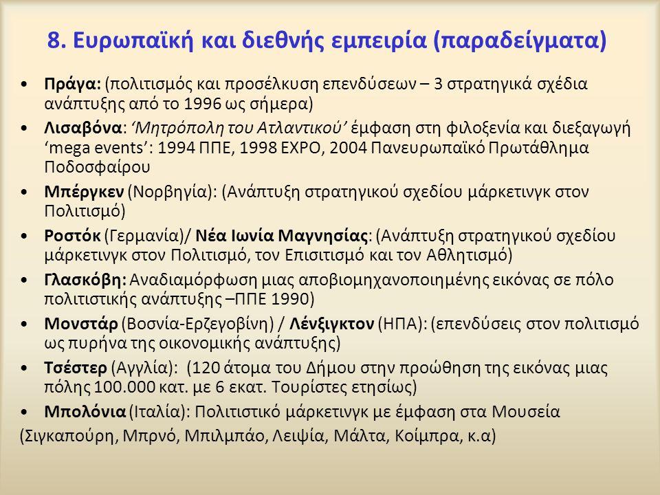 8. Ευρωπαϊκή και διεθνής εμπειρία (παραδείγματα) Πράγα: (πολιτισμός και προσέλκυση επενδύσεων – 3 στρατηγικά σχέδια ανάπτυξης από το 1996 ως σήμερα) Λ