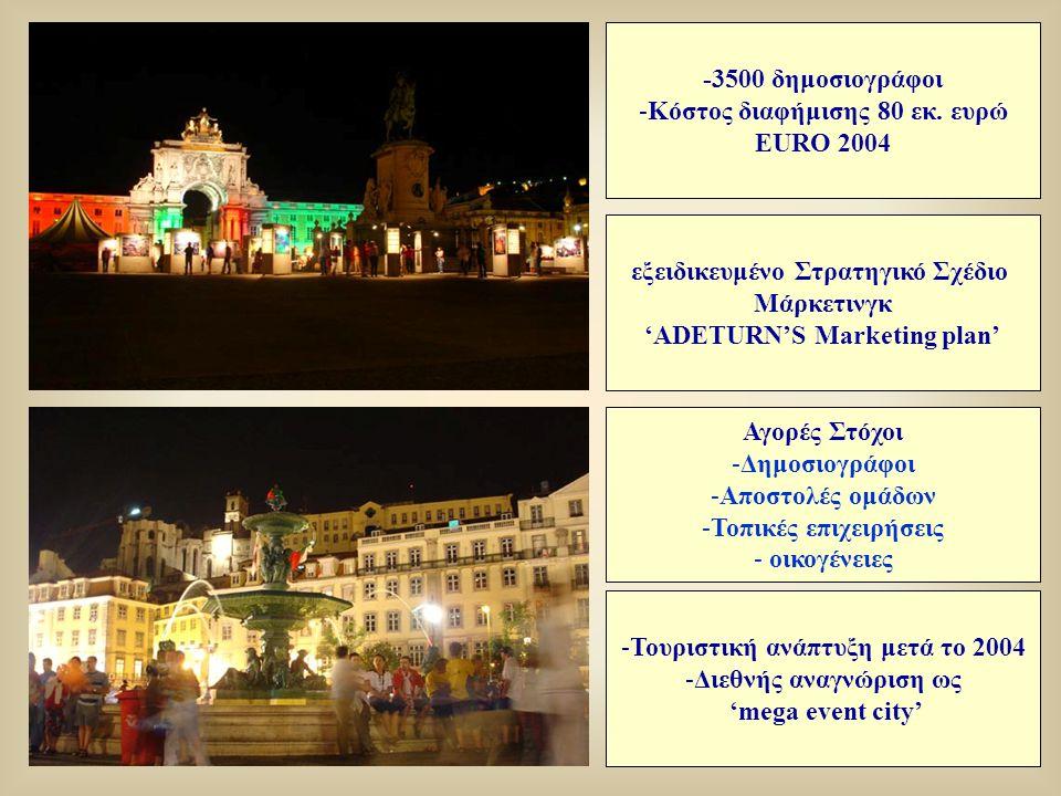 εξειδικευμένο Στρατηγικό Σχέδιο Μάρκετινγκ 'ADETURN'S Marketing plan' -Τουριστική ανάπτυξη μετά το 2004 -Διεθνής αναγνώριση ως 'mega event city' -3500