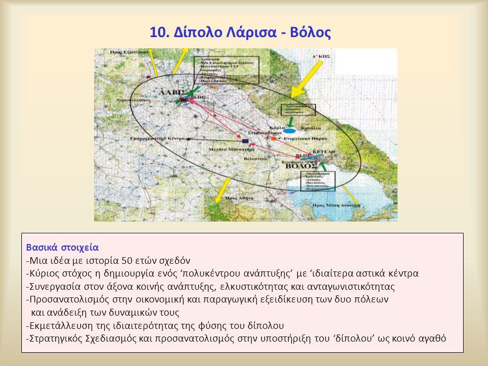 10. Δίπολο Λάρισα - Βόλος Βασικά στοιχεία -Μια ιδέα με ιστορία 50 ετών σχεδόν -Κύριος στόχος η δημιουργία ενός 'πολυκέντρου ανάπτυξης' με 'ιδιαίτερα α