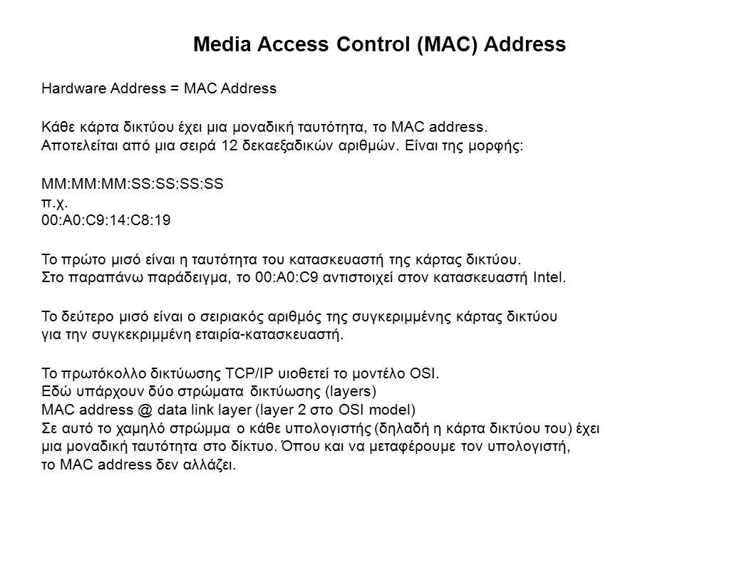 Media Access Control (MAC) Address Hardware Address = MAC Address Κάθε κάρτα δικτύου έχει μια μοναδική ταυτότητα, το MAC address.