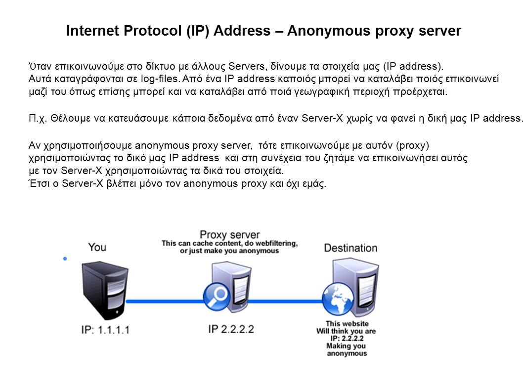 Internet Protocol (IP) Address – Anonymous proxy server Ὀ ταν επικοινωνούμε στο δίκτυο με άλλους Servers, δίνουμε τα στοιχεία μας (IP address).
