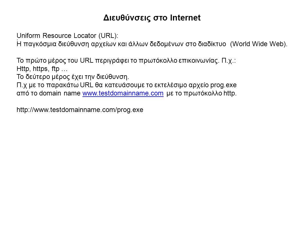 Διευθύνσεις στο Internet.