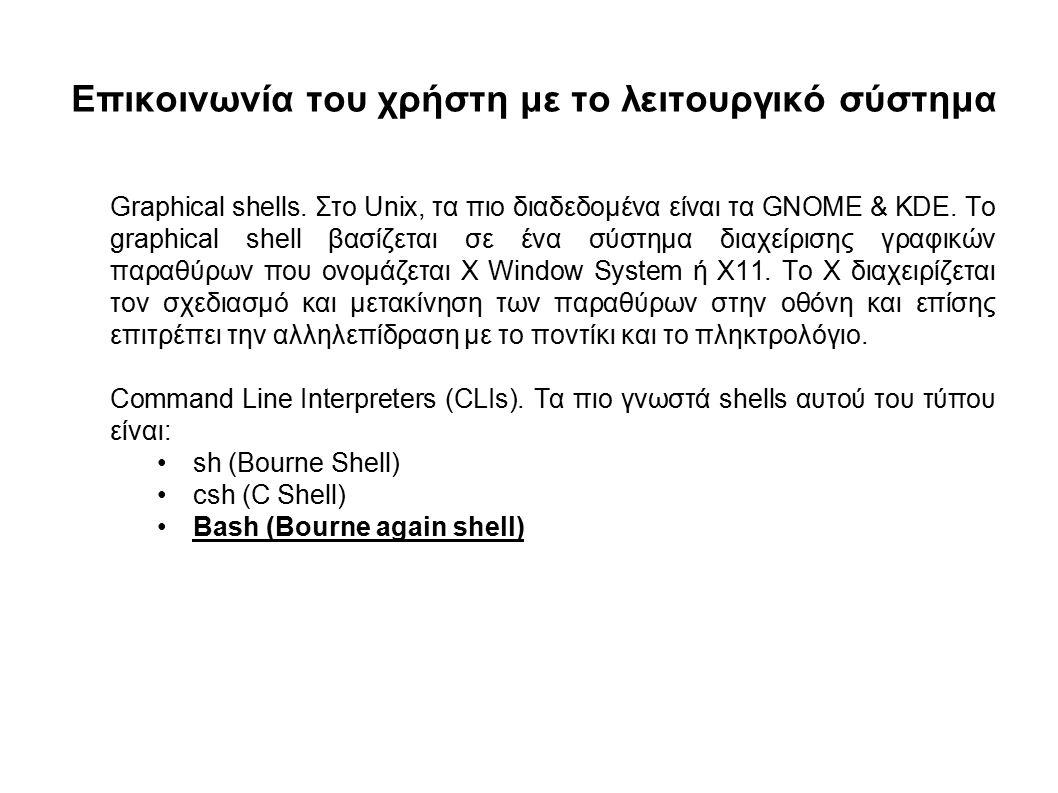 Επικοινωνία του χρήστη με το λειτουργικό σύστημα Graphical shells.
