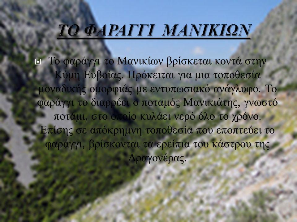 Το φαράγγι το Μανικίων βρίσκεται κοντά στην Κύμη Ευβοίας. Πρόκειται για μια τοποθεσία μοναδικής ομορφιάς με εντυπωσιακό ανάγλυφο. Το φαράγγι το διαρ