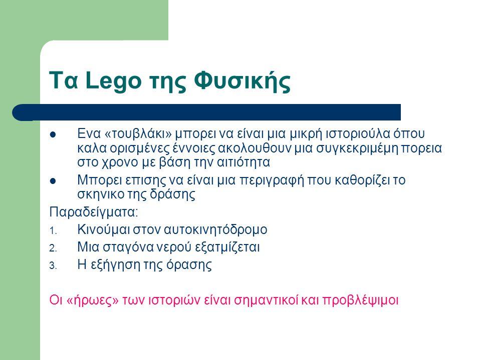 Τα Lego της Φυσικής Ενα «τουβλάκι» μπορει να είναι μια μικρή ιστοριούλα όπου καλα ορισμένες έννοιες ακολουθουν μια συγκεκριμέμη πορεια στο χρονο με βάση την αιτιότητα Μπορει επισης να είναι μια περιγραφή που καθορίζει το σκηνικο της δράσης Παραδείγματα: 1.