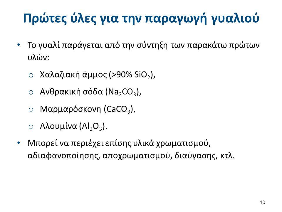 Πρώτες ύλες για την παραγωγή γυαλιού Το γυαλί παράγεται από την σύντηξη των παρακάτω πρώτων υλών: o Χαλαζιακή άμμος (>90% SiO 2 ), o Ανθρακική σόδα (Na 2 CO 3 ), o Μαρμαρόσκονη (CaCO 3 ), o Αλουμίνα (Al 2 O 3 ).
