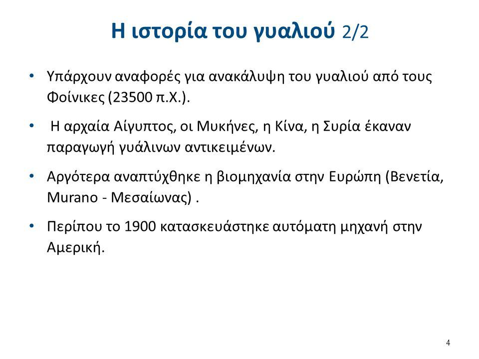 Η ιστορία του γυαλιού 2/2 Υπάρχουν αναφορές για ανακάλυψη του γυαλιού από τους Φοίνικες (23500 π.Χ.).