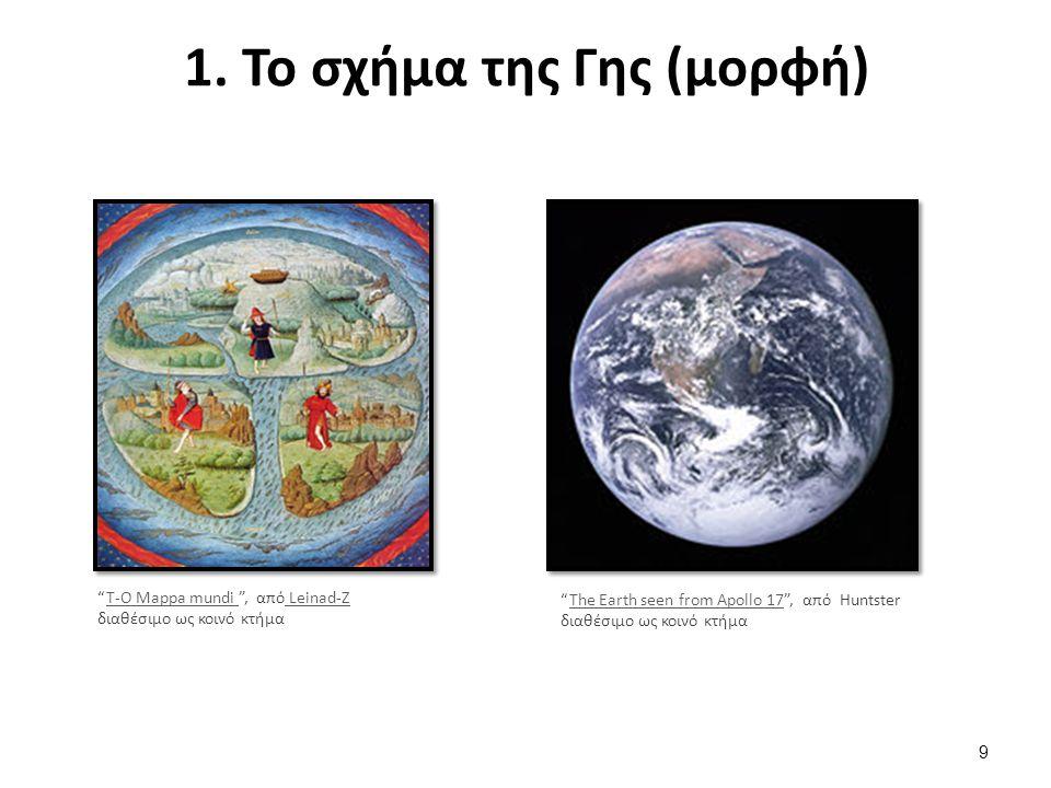 """1. Το σχήμα της Γης (μορφή) """"T-O Mappa mundi """", από Leinad-Z διαθέσιμο ως κοινό κτήμαT-O Mappa mundi Leinad-Z """"The Earth seen from Apollo 17"""", από Hun"""